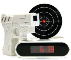 Gadget Target Laser Shoot Recordable Gun Alarm Clock Digital electronic desk clock table watch nixie clock Snooze funny for kids Cool Tech Gadgets, Awesome Gadgets, Awesome Inventions, Target Practice, Shooting Guns, Take My Money, Desk Clock, Clock Table, Digital Alarm Clock