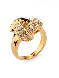 Fashion Golden Alloy with Rhinestone Ring