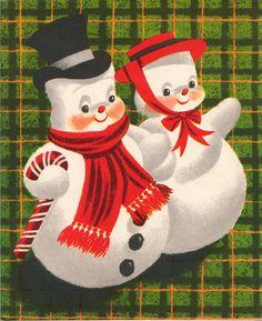 plaid Christmas snow couple