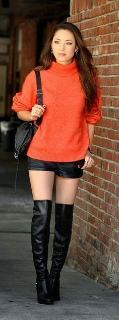 Pumpkin Spice by Hapa Time fall autumn women fashion outfit clothing style apparel closet ideas A large collection of photos of beautiful girls on the beach, in the car, in the countryside. Look more. Fashion Boots, New Fashion, Fashion Outfits, Womens Fashion, Street Fashion, Over Boots, High Boots, Long Boots, Sexy Outfits