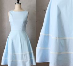 COQUETTE CORNFLOWER - Light pastel blue cotton dress // pockets // flared circle skirt // ivory lace // bridesmaid // vintage inspired by FleetCollection on Etsy https://www.etsy.com/listing/194441469/coquette-cornflower-light-pastel-blue