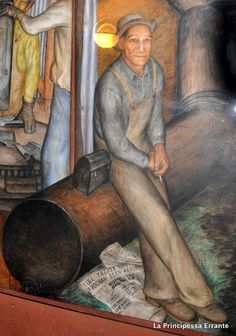 California Industrial Scenes by John Langley Howard - Frescoes at Coit Tower in San Francisco Coit Tower San Francisco, San Francisco California, American Artists, Fresco, Murals, Folk, Industrial, Diy Crafts, Photo And Video