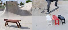 Decoración tablas skate taburetes, estanterías, perchas