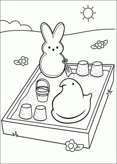 Marshmallow Peeps coloring page • Mature Colors | Adult Coloring ...