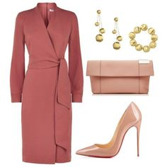 this dusky pink design offers a flattering wrap over neckline with long sleeves and a modest knee length pencil skirt