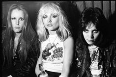 "theunderestimator-2: "" More girl power than you can handle: Lita Ford and Joan Jett of The Runaways teaming up with Debbie Harry in 1977, as documented by Chris Stein of Blondie. """