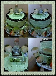 Lime cake w. Patron and white chocolate strawberries for dads birthday 2014
