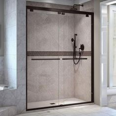 DreamLine Encore 56 to 60 in. x 76 in. Frameless Sliding Shower Door in Oil Rubbed Bronze-SHDR-1660760-06 - The Home Depot