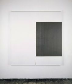 Callum Innes, 2001 Exposed Painting Pewter Violet Oil on linen | 174.5 x 170.5 cm