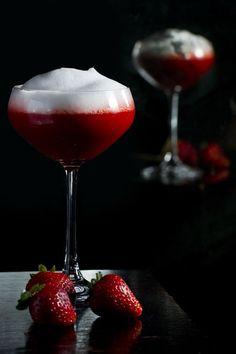 Champagne and strawberry martini