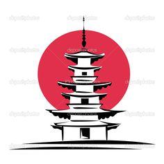 pagoda silhouette | Pagoda, Japan symbol | Stock Vector © Zhanna MILLIONNAYA #9693616