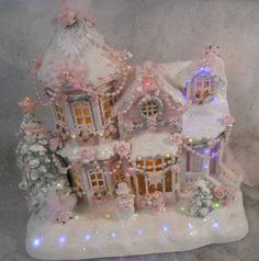 shabby pink victorian christmas musical lighted village house chic roses
