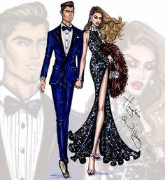 #Hayden Williams fashion Illustrations #'Evening Attire' by Hayden Williams