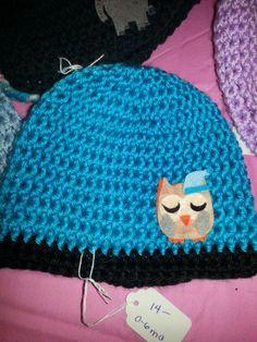 Blue crochet owl hat