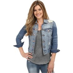 Lucky Brand Classic Denim Jacket (Firebaugh) ($101) ❤ liked on Polyvore featuring outerwear, jackets, blue, pocket jacket, lucky brand jacket, cropped denim jacket, jean jacket and blue jackets