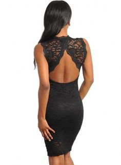 NO COMPETITION ALL BLACK LACE DRESS WITH OPEN BACK.,  Dress, lace style  dress  fashion, Chic