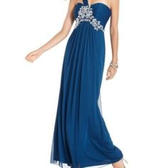 Prom Dress Peacock Blue, worn once and immediately dry cleaned. in new condition. Lord & Taylor Dresses