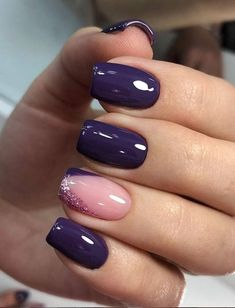 False nails have the advantage of offering a manicure worthy of the most advanced backstage and to hold longer than a simple nail polish. The problem is how to remove them without damaging your nails. Natural Nail Designs, Purple Nail Designs, Acrylic Nail Designs, Nail Art Designs, Nails Design, Gel Nail Polish Designs, Purple Nails With Design, Summer Nail Designs, Pedicure Designs