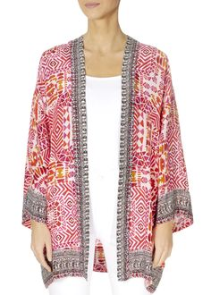 This is the 'Shiraz' Bright Pink Print Kimono by the ever-stunning brand, Inoa! Feel flawless in gorgeous colours with this free-flowing kimono. Pair with a slip. Puffer Coat With Hood, Black Puffer Coat, Waterproof Coat, Lightweight Jacket, Bright Pink, Warm Weather, Kimono Top, Cubism, Silk
