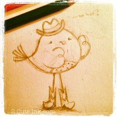 So since I couldn't figure out how to add cowboy boots to my turtle I was determined to think of a character that I could add boots to easily. So I decided on a little bird with long legs! Cute Sketches, Bird Sketch, Long Legs, Comic Strips, Birds, Comics, Country, Character, Inspiration