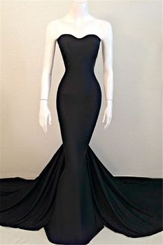 Sexy Mermaid Black Sweetheart Evening Dress 2016 Sleeveless Sweep Train Prom Dresses