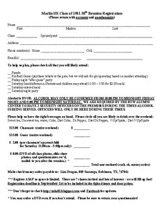 High school reunion questionnaire posted by lisa dragoo for High school registration form template