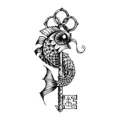 Key Fish tattoo flash by Miss Sita @ 109.es