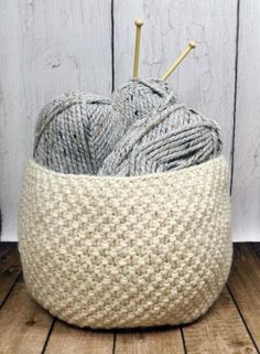 Knitting Pattern for Oodles Basket - Easy pattern and quick project in super bulky yarn. 28 around x 9 high tba craft tool storage Knitting Stitches, Knitting Yarn, Free Knitting, Knitting Room, Knitting Storage, Knit Basket, Basket Weaving, Knitting Patterns, Crochet Patterns