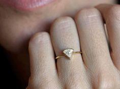 Unique Diamond Engagement Ring, Diamond Shape Diamond Ring, Modern Engagement, Unique Diamond Ring, Half Carat Diamond Ring