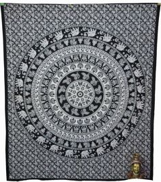 Indian Mandala Tapestry Wall Hanging Hippie Bohemian D3 Cotton decor 85x105  #Handmade