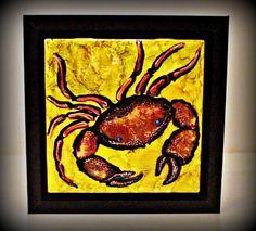 crab decor  beach house crab decor  crab art by DawnsINKSpirations
