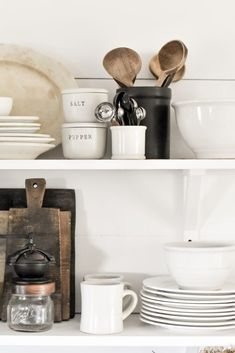 How to style open shelving in 8 easy steps. Styling open kitchen shelving doesn t have to complicated. these simple steps for white rustic DIY farmhouse shelves in your home. Kitchen Shelves, Diy Kitchen, Kitchen Decor, Kitchen Corner, Kitchen Small, Kitchen Modern, Kitchen Ideas, Kitchen Island, Kitchen Cabinets