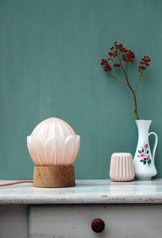 Gems of Light Art Deco table lamp pastel pink by GemsOfLightLamps