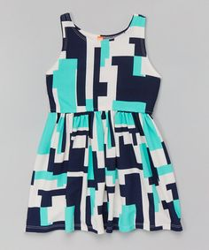 Loving this Mint Geometric  Dress - Toddler & Girls on #zulily! #zulilyfinds