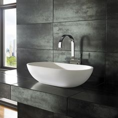 Flow Pure White Solid Surface 65cm x 35cm Rounded Countertop Basin