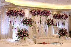 : Simple stage decoration for wedding Stunning wedding stage decoration ideas. WOW images for stage decoration for wedding by Flower decorators. Simple Stage Decorations, Engagement Stage Decoration, Marriage Decoration, Backdrop Decorations, Ceremony Decorations, Backdrops, Reception Stage Decor, Wedding Stage Design, Wedding Reception Backdrop