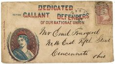 """Civil War envelope showing bust of Columbia encircled with laurel branches bearing message """"Dedicated to the gallant defenders of our National Union""""    Addressed to Mr. Emil Fourgerel, No. 16 East Fifth Street, Cincinnati, Ohio; postmarked Newport, R.I., May 23; bears 3 cent stamp."""