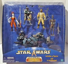 Star Wars Ultimate Bounty Set w/ 4 Figures & 6 Accessories Toys R Us Exclusive Star Wars Set, Star Wars Clone Wars, Amazing Toys, Starwars Toys, Star Wars Action Figures, Elm Street, Star Wars Collection, Bounty Hunter, Obi Wan