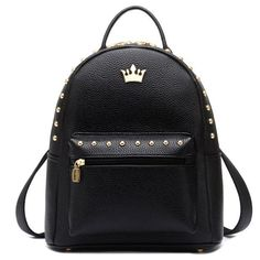 Leisure Punk Crown Rivet PU School Backpack Lady Rucksack sold by needit. Cute Mini Backpacks, Girl Backpacks, School Backpacks, Lace Backpack, Laptop Backpack, Leather Backpack, Travel Backpack, Pu Leather, Studded Backpack
