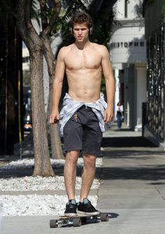 Keegan Allen Likes To Skateboard Shirtless