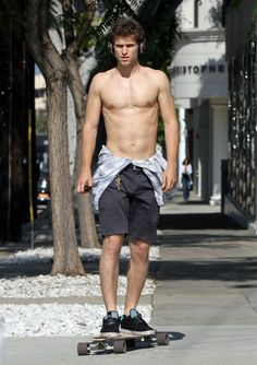 Keegan Allen Likes To Skateboard Shirtless