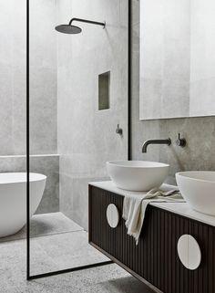 Bathroom tiles with grey tiles, black framed glass. Bathroom tiles with grey tiles, black framed glass. Grey Bathrooms, Small Bathroom, Master Bathroom, Grey Bathroom Tiles, Glass Bathroom, Bathroom Ideas, Black Vanity Bathroom, Colorful Bathroom, Bathroom Carpet