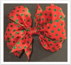 "Green Polka Dots and a Red 5"" Pin On Hair Bow"