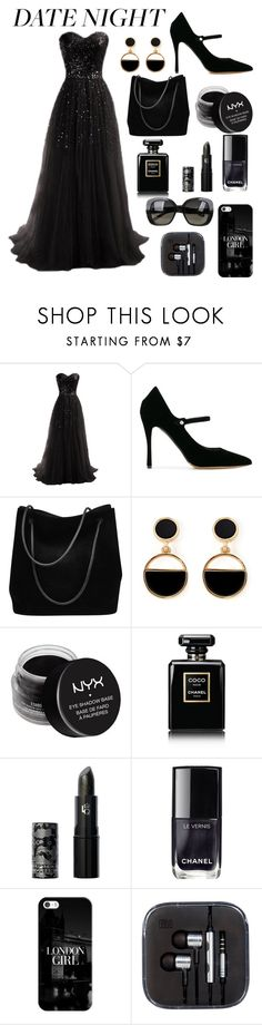 """Black beauty"" by juhibeiber ❤ liked on Polyvore featuring Tabitha Simmons, Gucci, Warehouse, NYX, Chanel, Lipstick Queen, Casetify and Bottega Veneta"