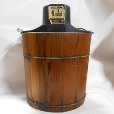 Vintage electric Richmond Cedar Works model 78 Ice Cream maker #vintage #electric #cedar #ice #cream #freezer #maker #bucket #frozen  #farmhouse #cabin #decor #dessert