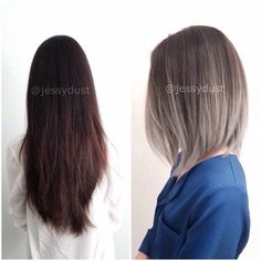 before/after , silver hair balayage ombre http//www.jessydust.
