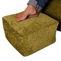 Bean Bag Footstool Chenille | Luxury Square Foot Rest | BeanBag Bazaar