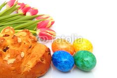 currant loaf, eggs and tulips - Osterbrot, Eier und Tulpen