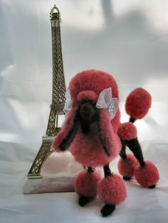 OOAK Handcrafted Needle Felted Poodle In Paris Pet Puppy Dog by Bren