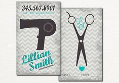 Hair Salon Business Card - Hair Stylist Business Card Calling Card Appointment Card - Vintage Blow Dyer Scissors - Turquoise Gray Chevron